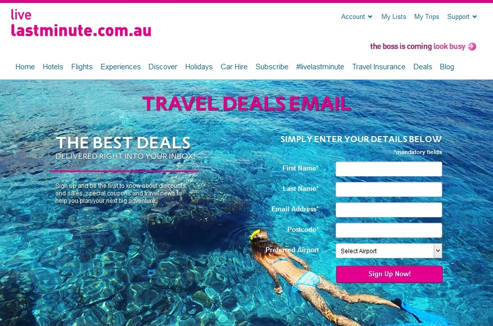Lastminute.com.au Newsletter
