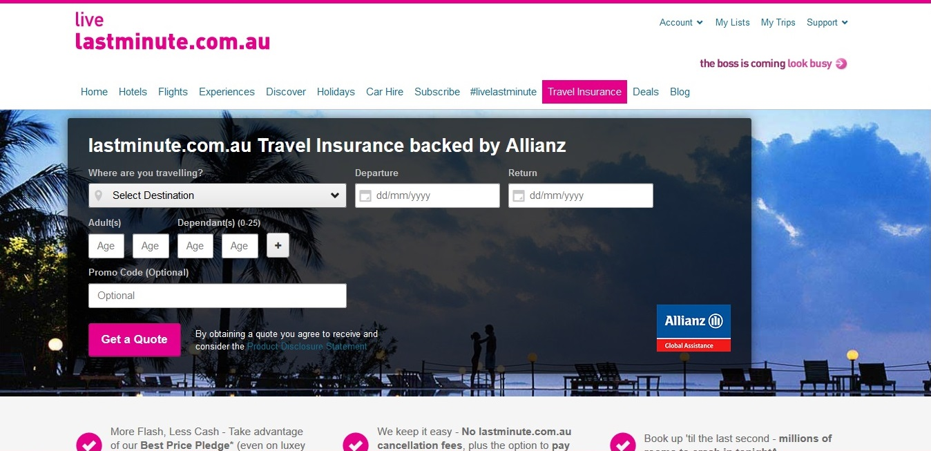 Lastminute.com.au Travel Insurance