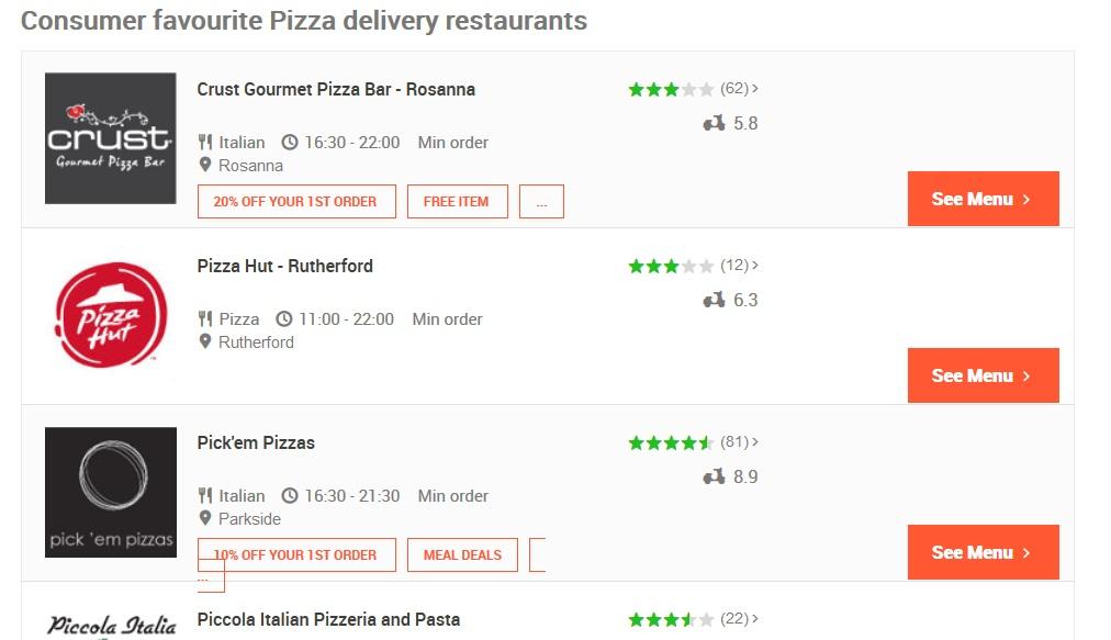 Menulog Pizza