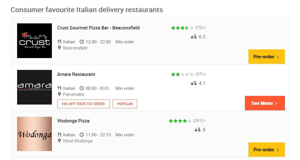 Menulog Italian