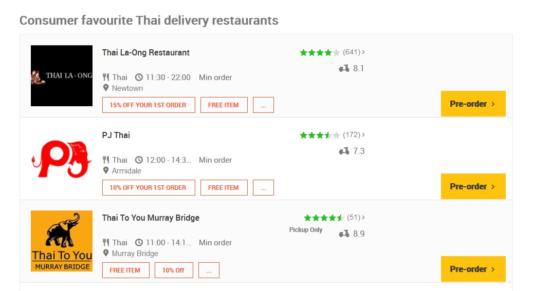 Menulog Thai