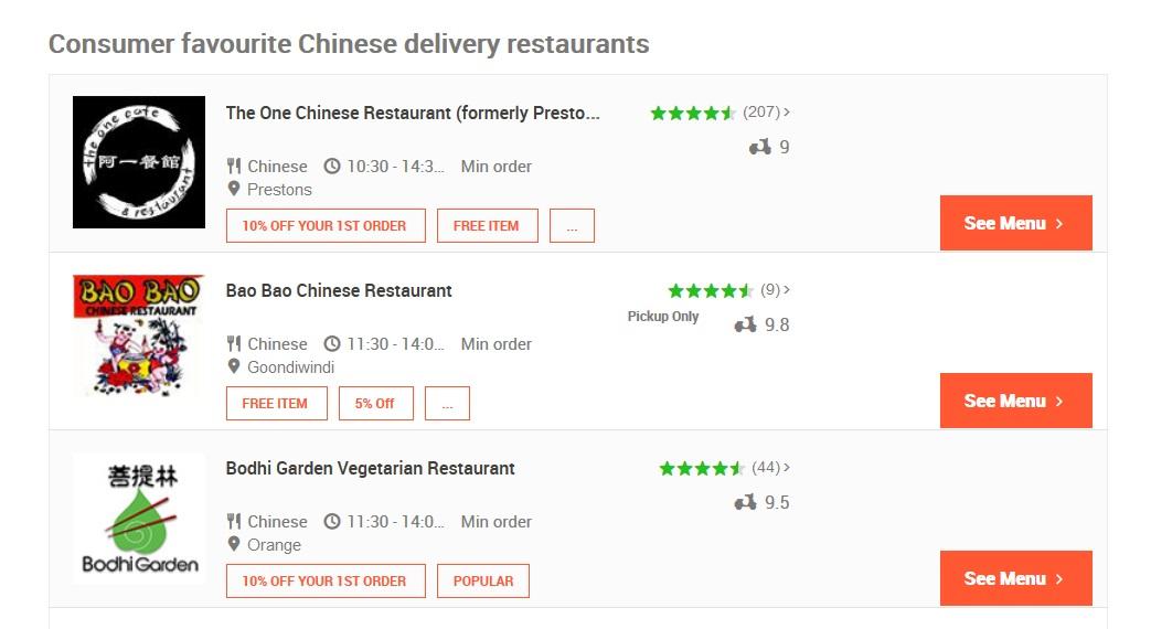 Menulog Chinese