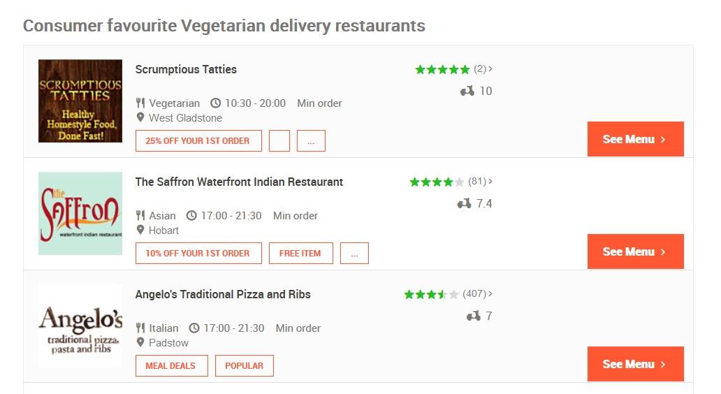 Menulog Vegetarian