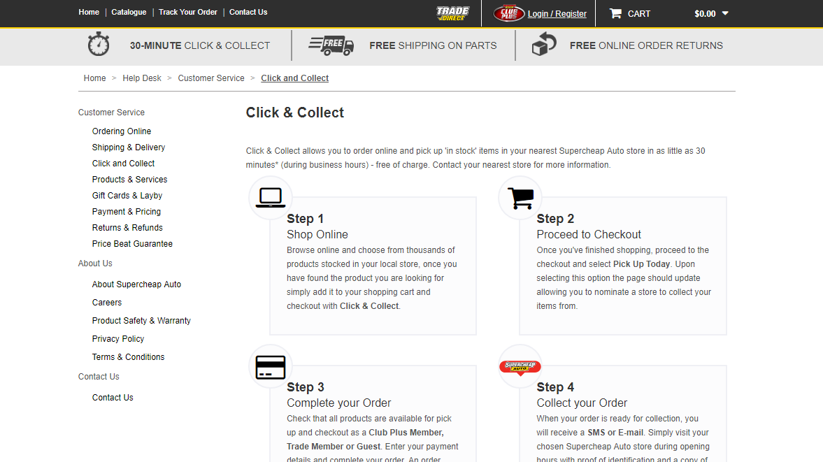 Supercheap Auto Click and Collect