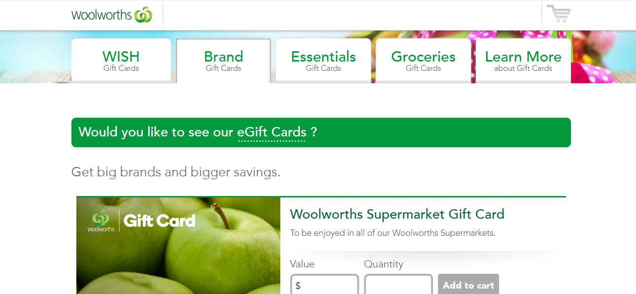 Woolworths Essential Gift Cards