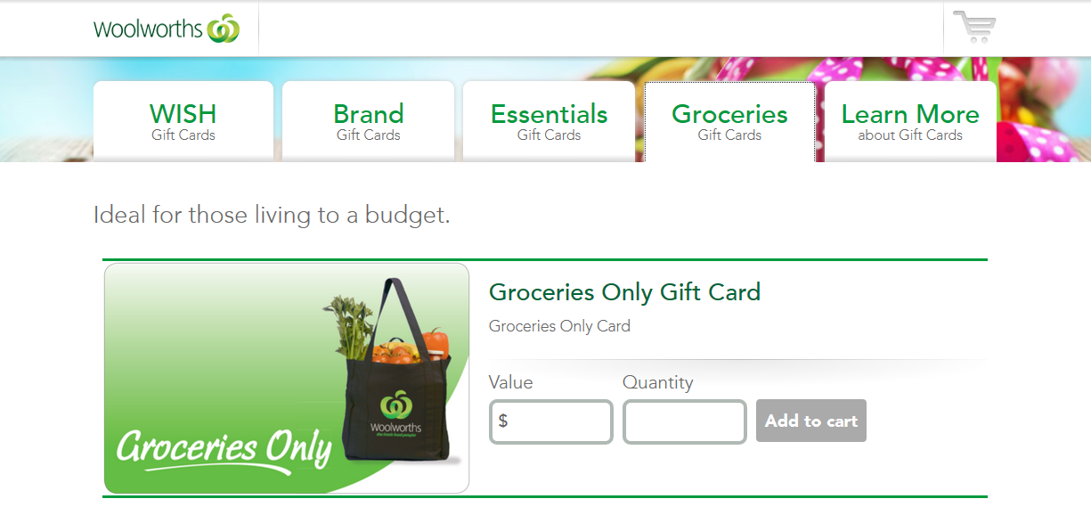 Woolworths Groceries Gift Card