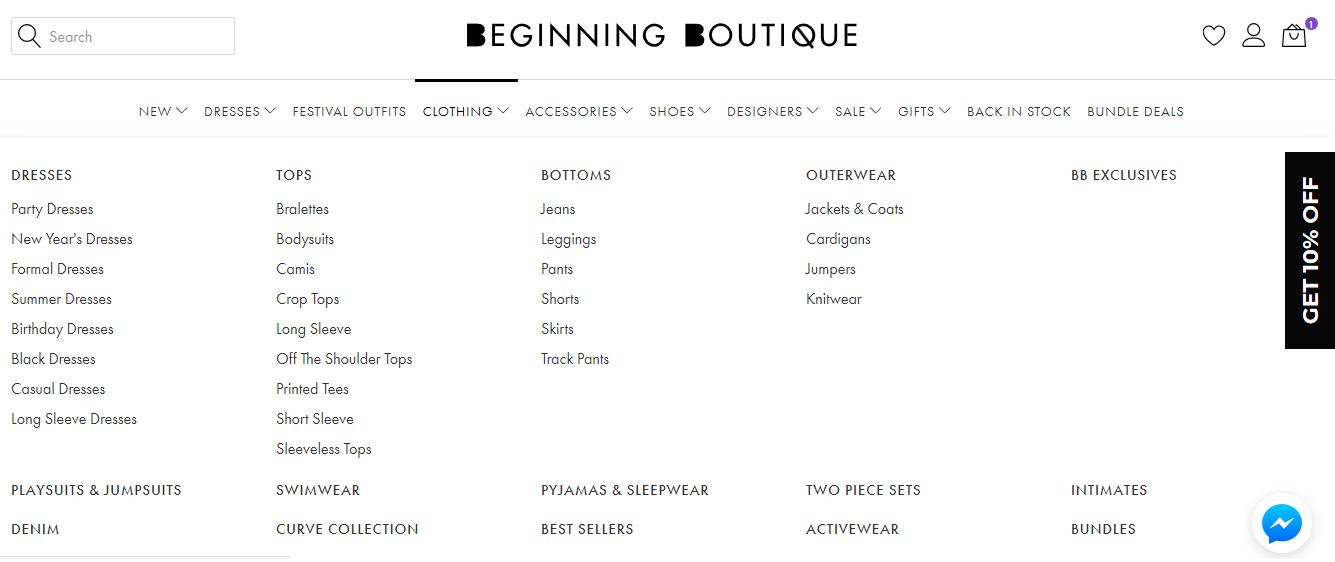 Begining Boutique Clothing