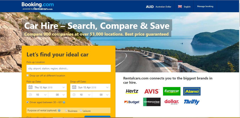 Booking com Car Rentals