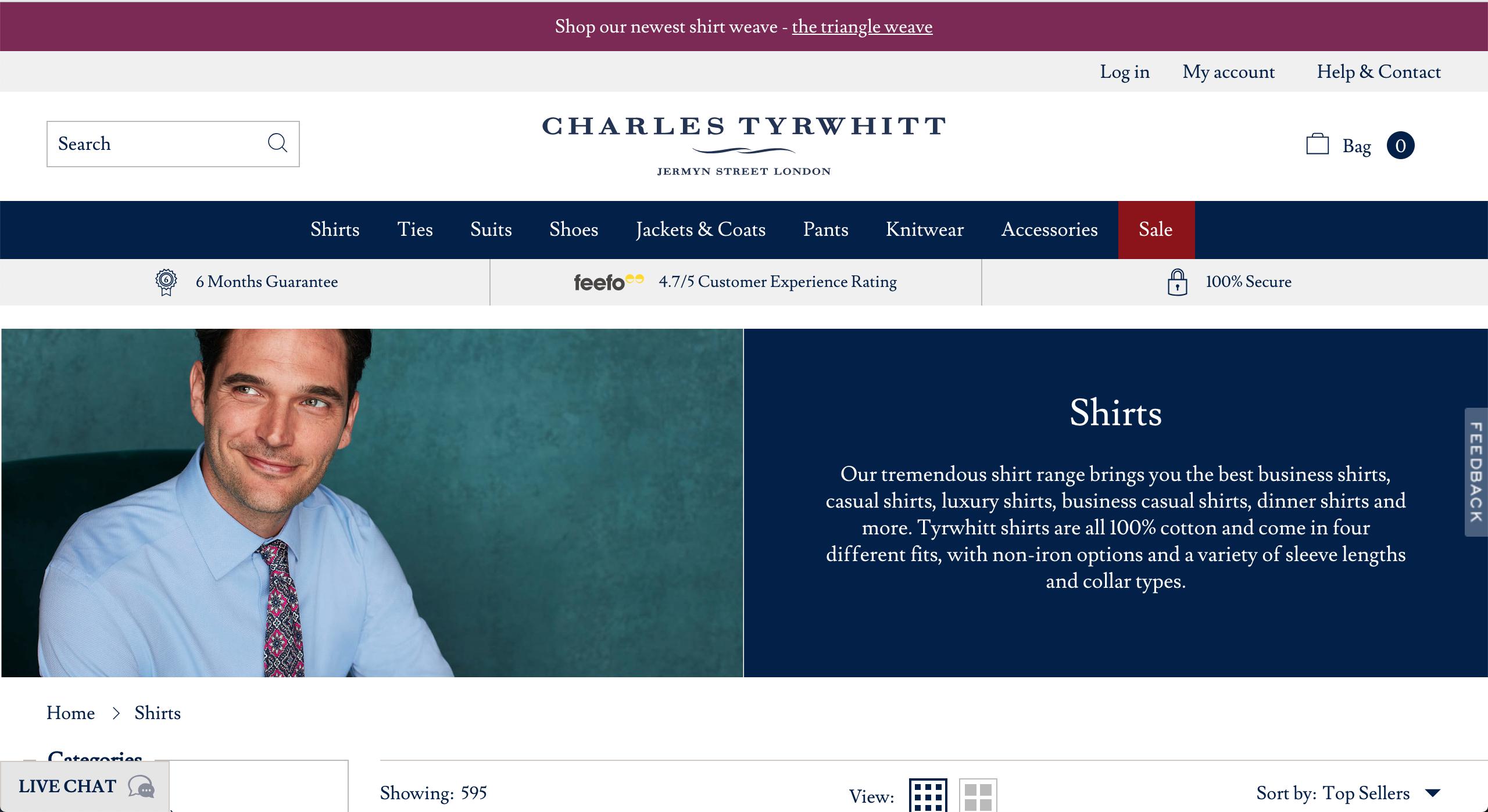 Charles Tyrwhitt shirts page