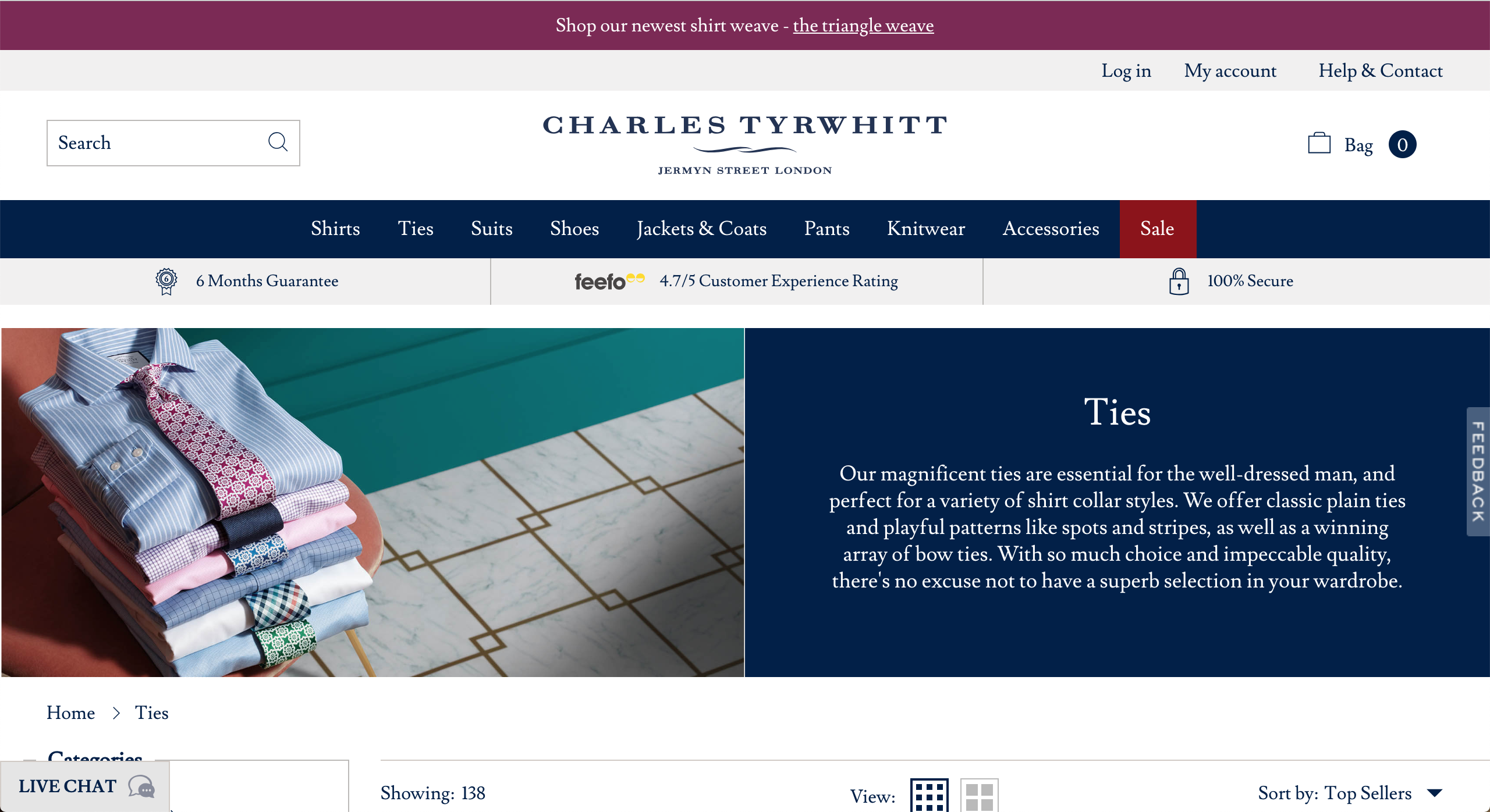 Charles Tyrwhitt ties page