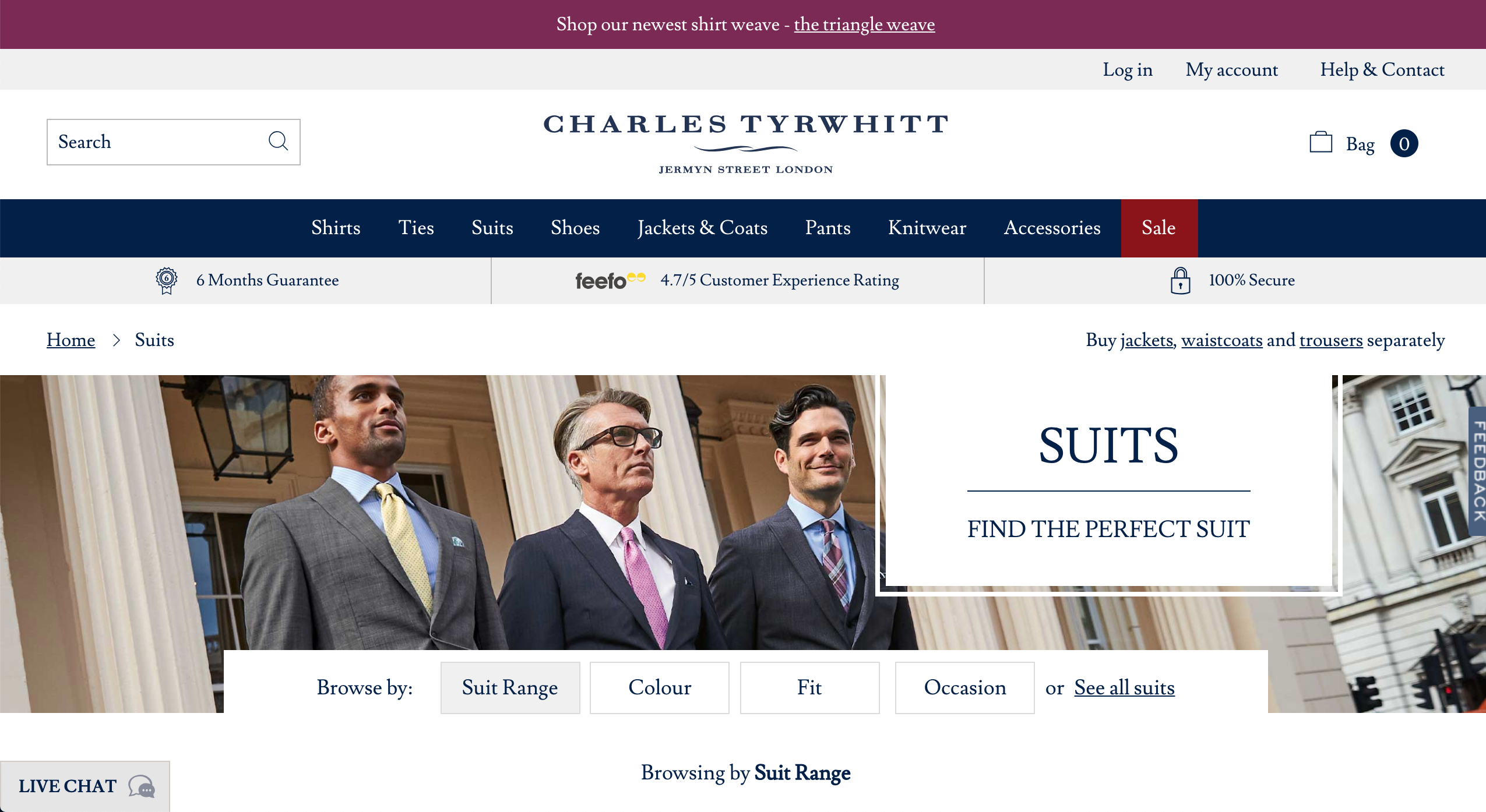 Charles Tyrwhitt suits page