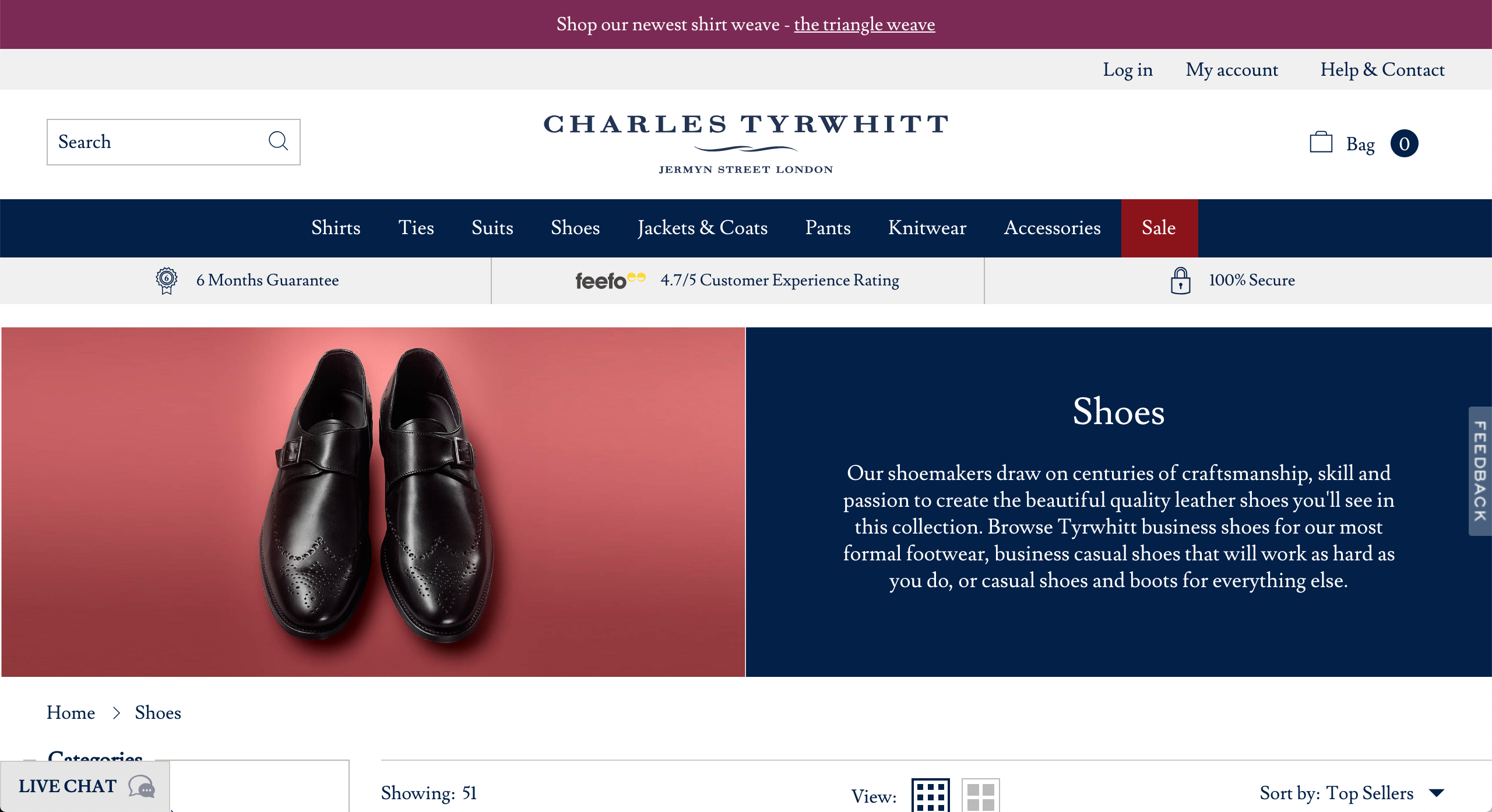 Charles Tyrwhitt shoes page