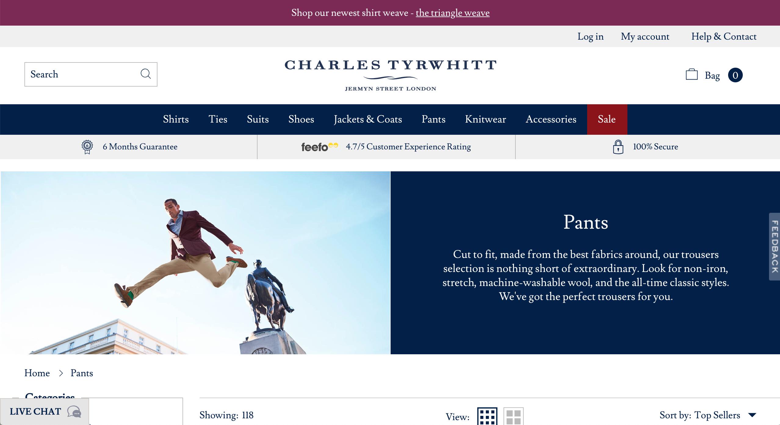 Charles Tyrwhitt pants page