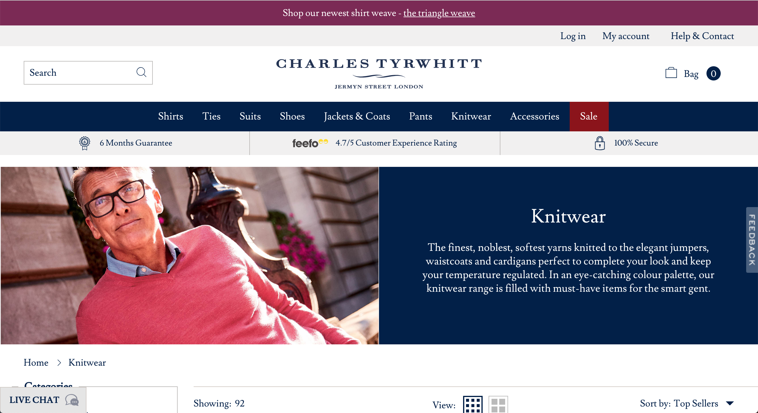 Charles Tyrwhitt knitwear pages