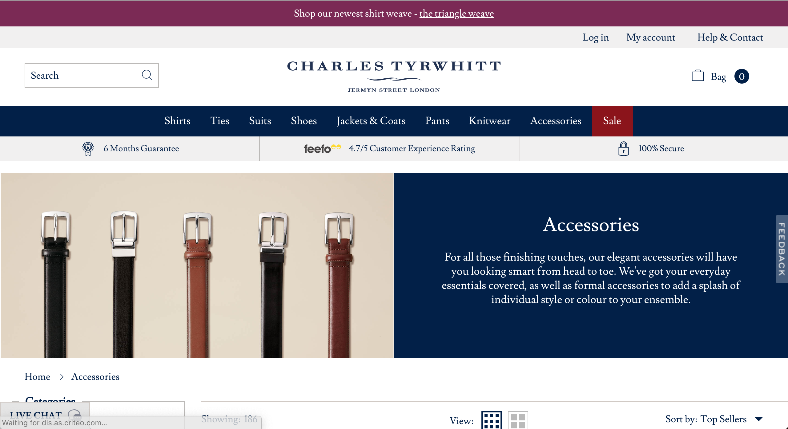 Charles Tyrwhitt Accessories page