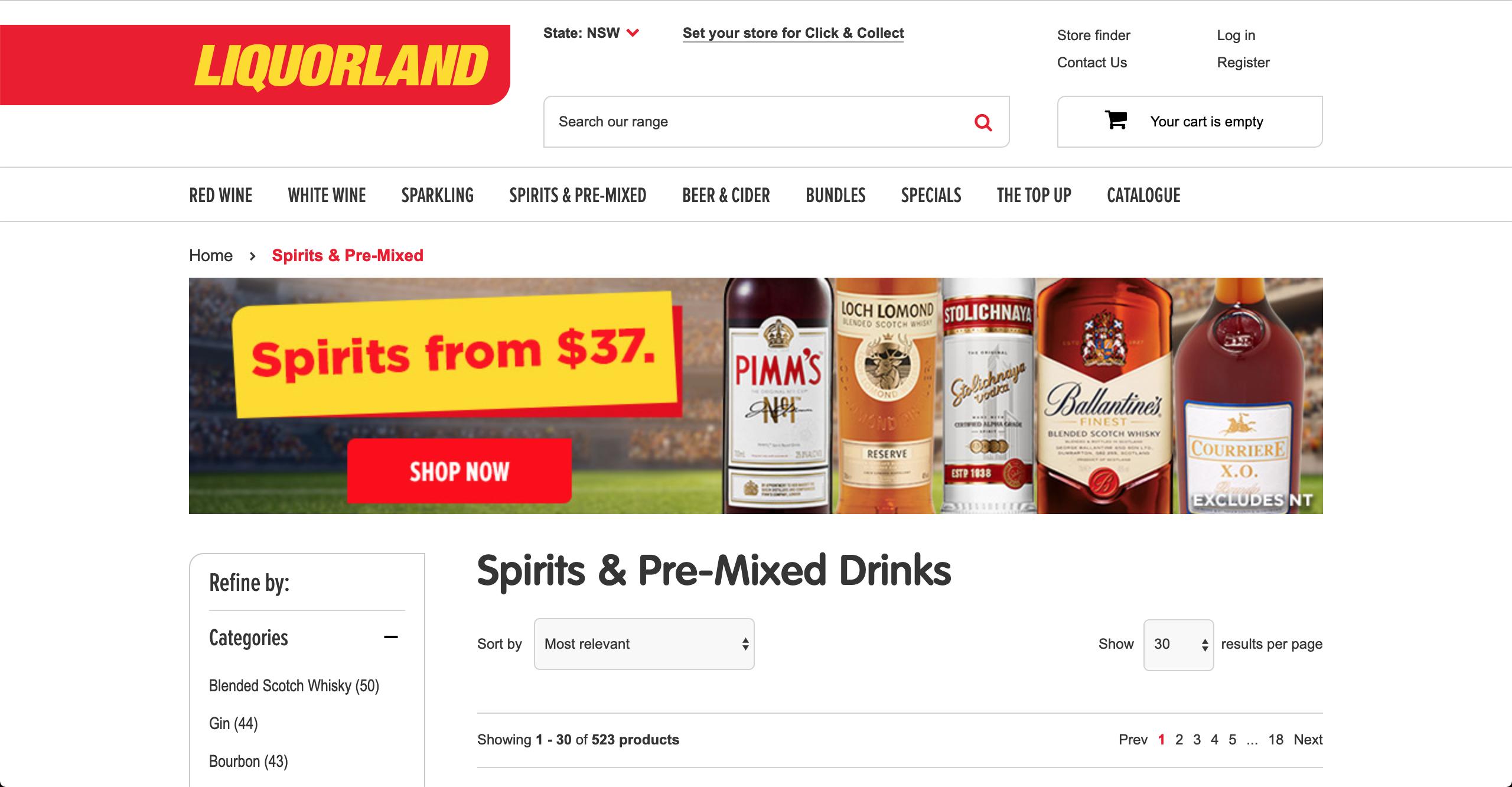Liquorland Spirits & Premixed