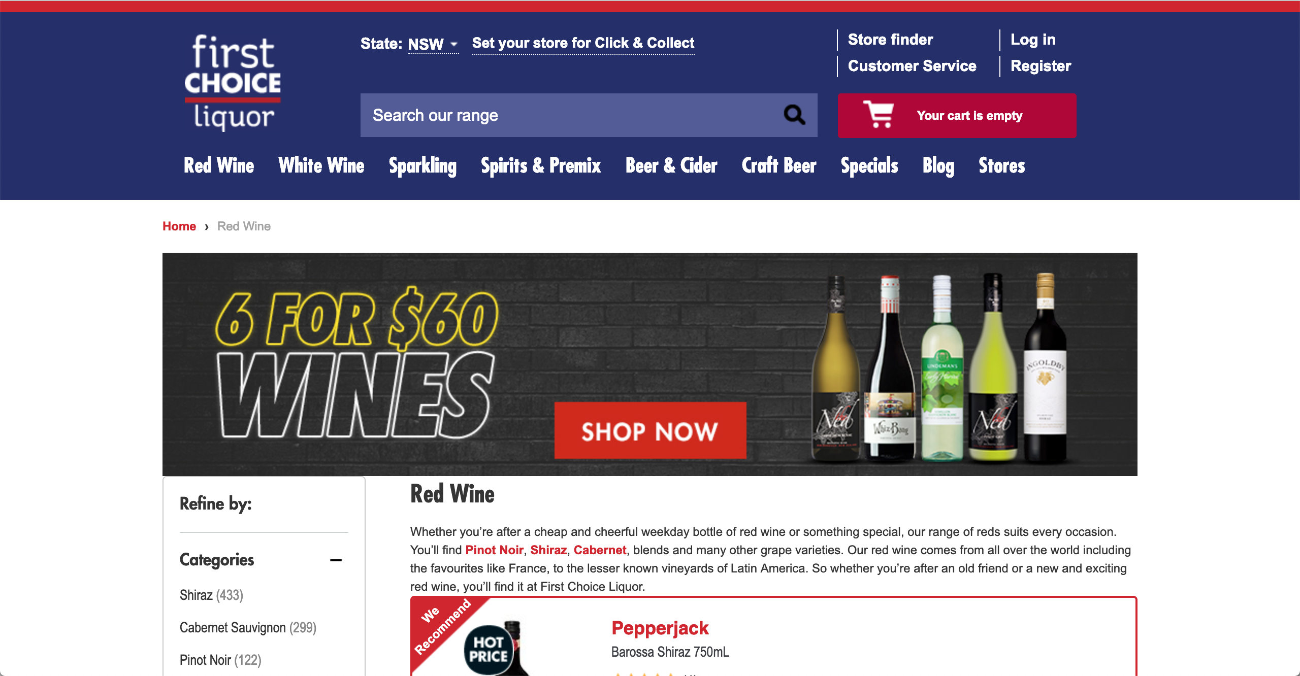 First Choice Liquor Red Wines