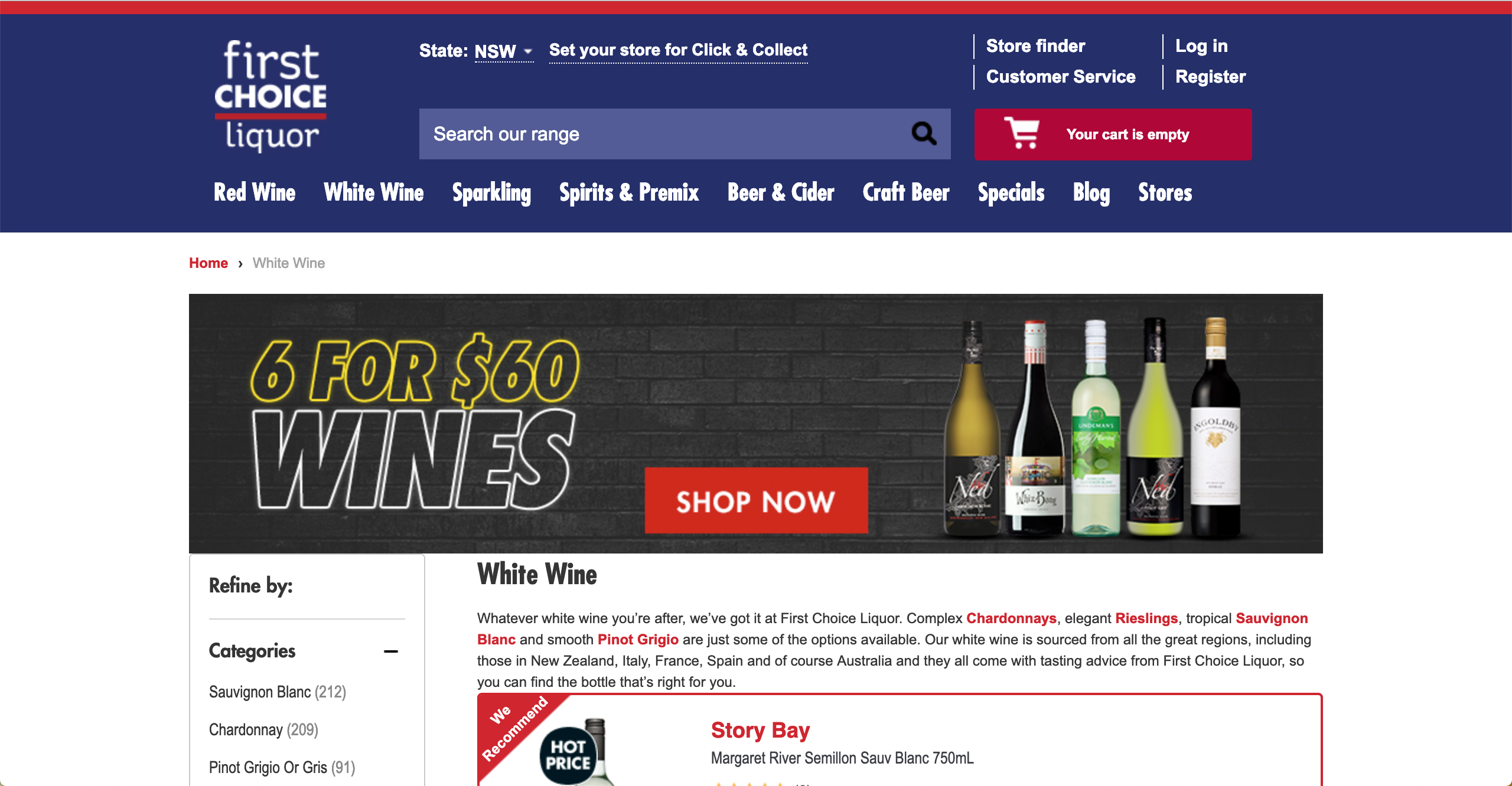 First Choice Liquor White Wines