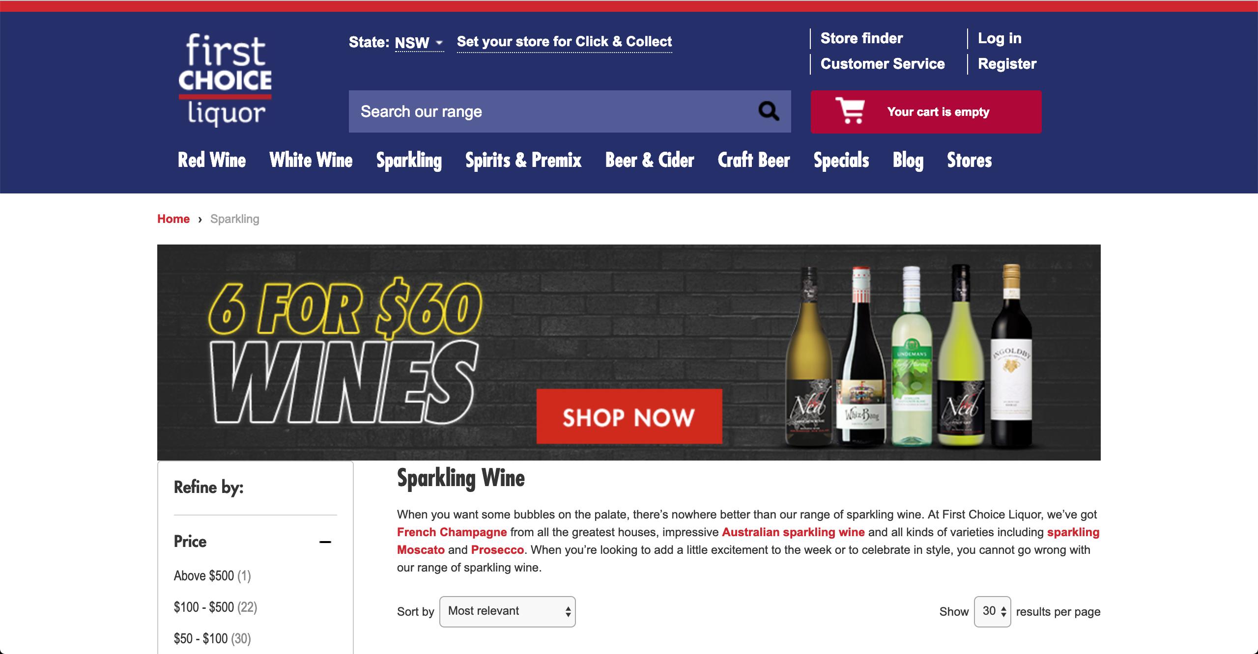 First Choice Liquor Sparkling Wines