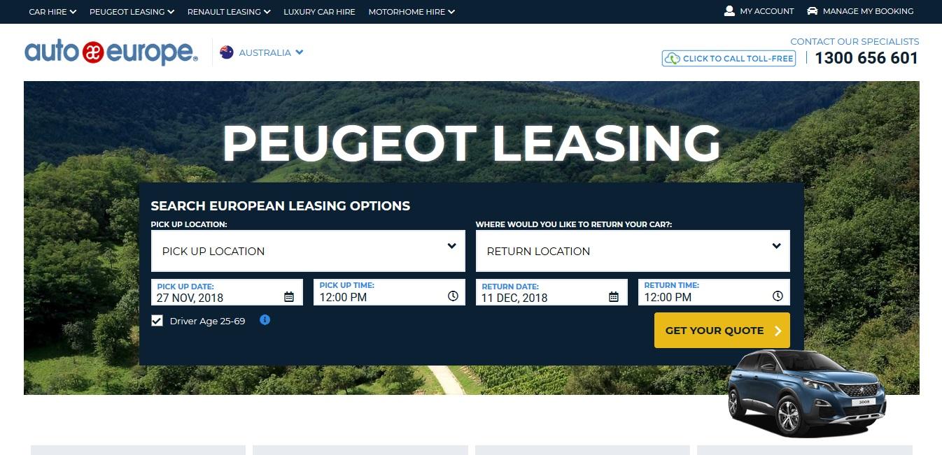 Auto Europe Car Rentals Peugeot Leasing