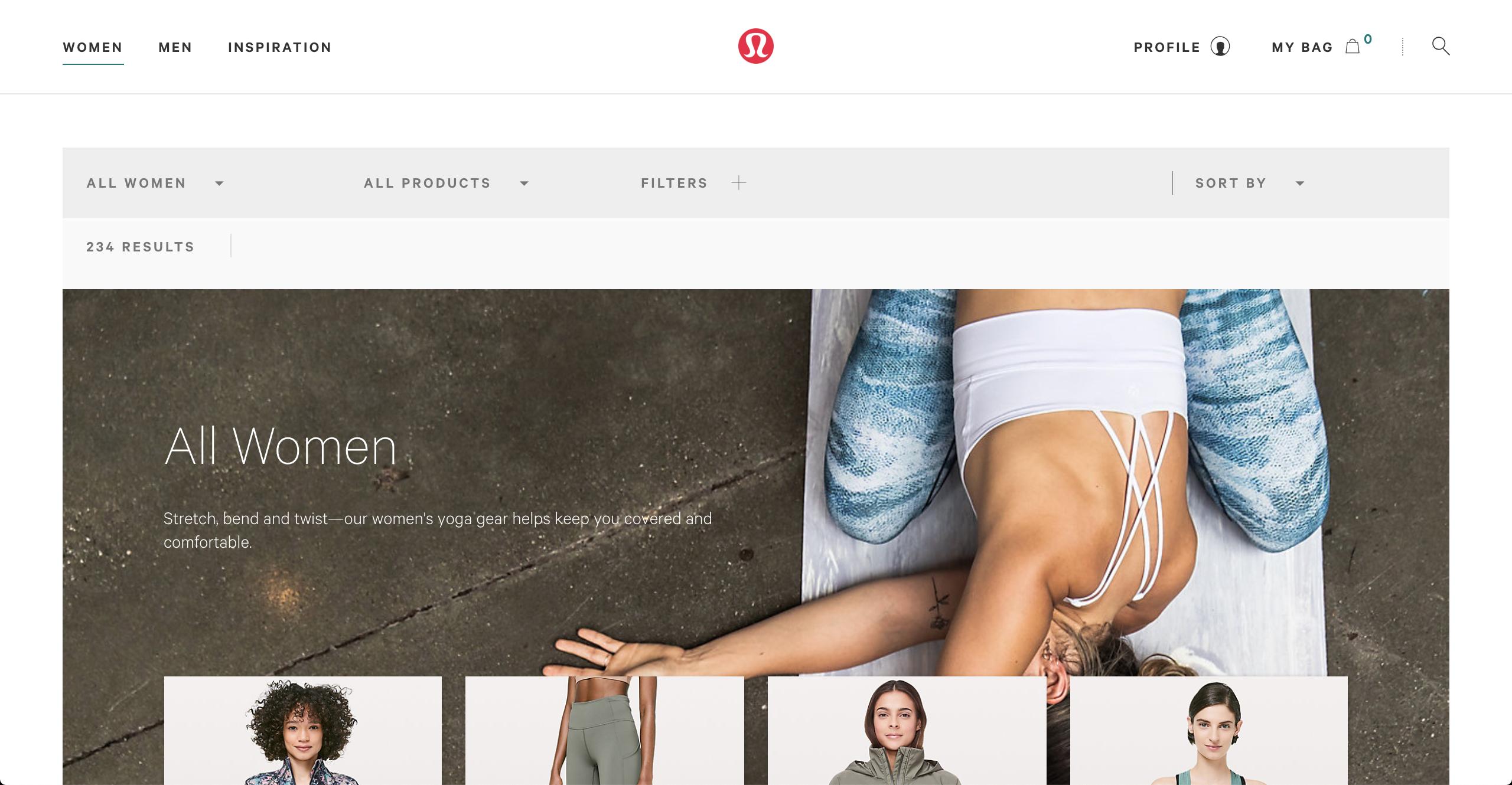 Lululemon women's apparel page