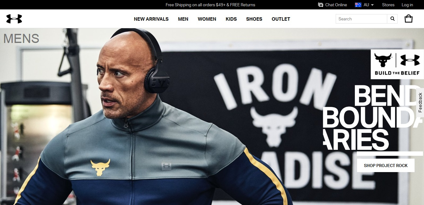 Under Armour Men's product page