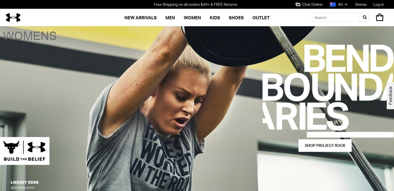 Under Armour Women's product page