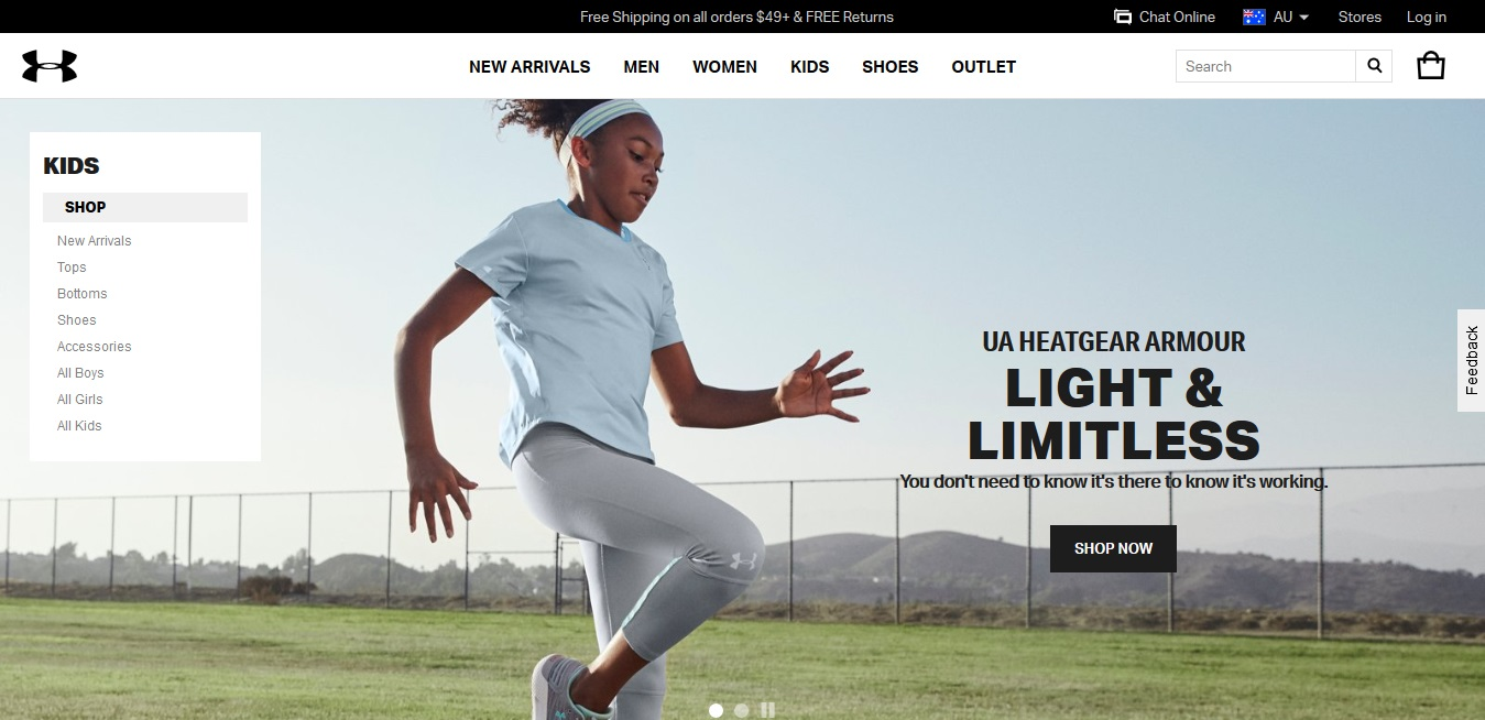 Under Armour Kids' product page