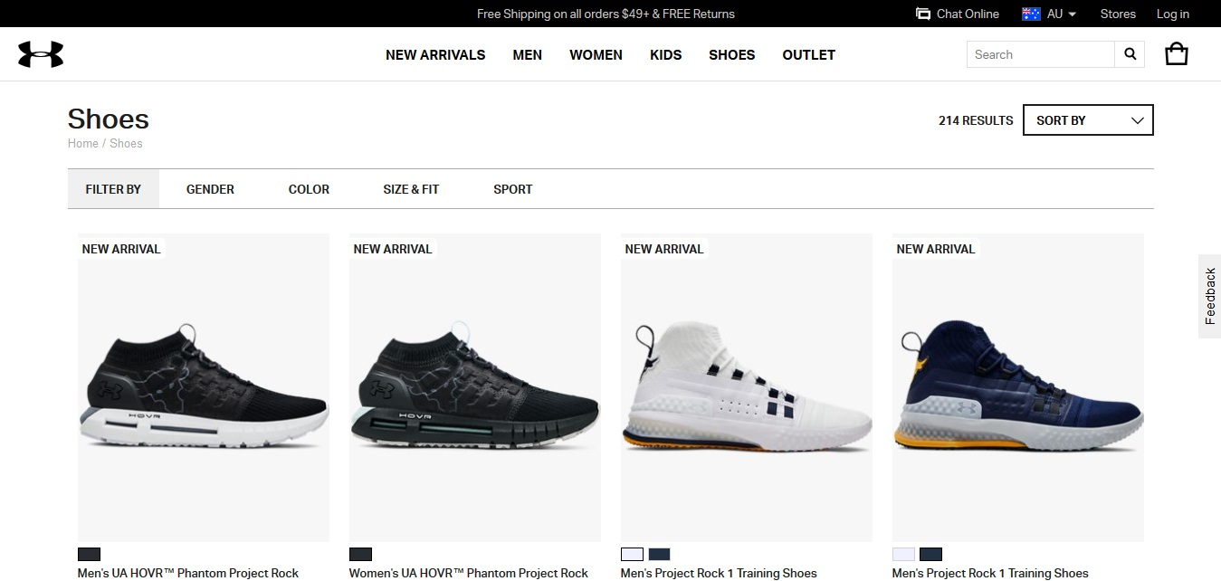 Under Armour Shoes product page