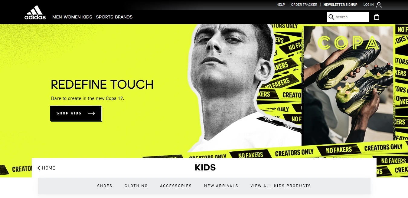 Adidas Kids' product page