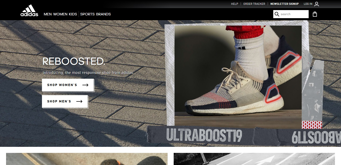 Adidas sports product page