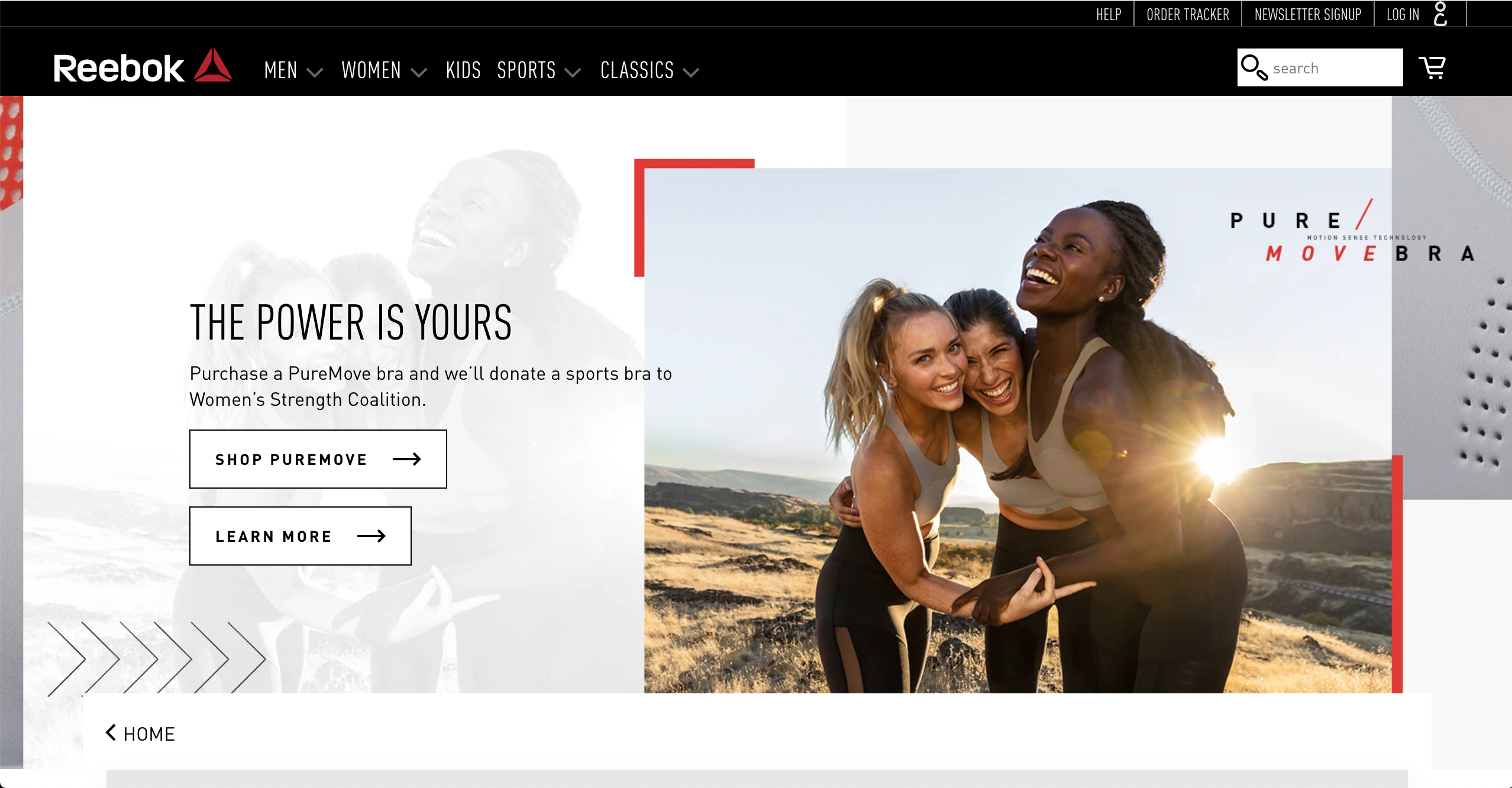 Reebok Women s product page