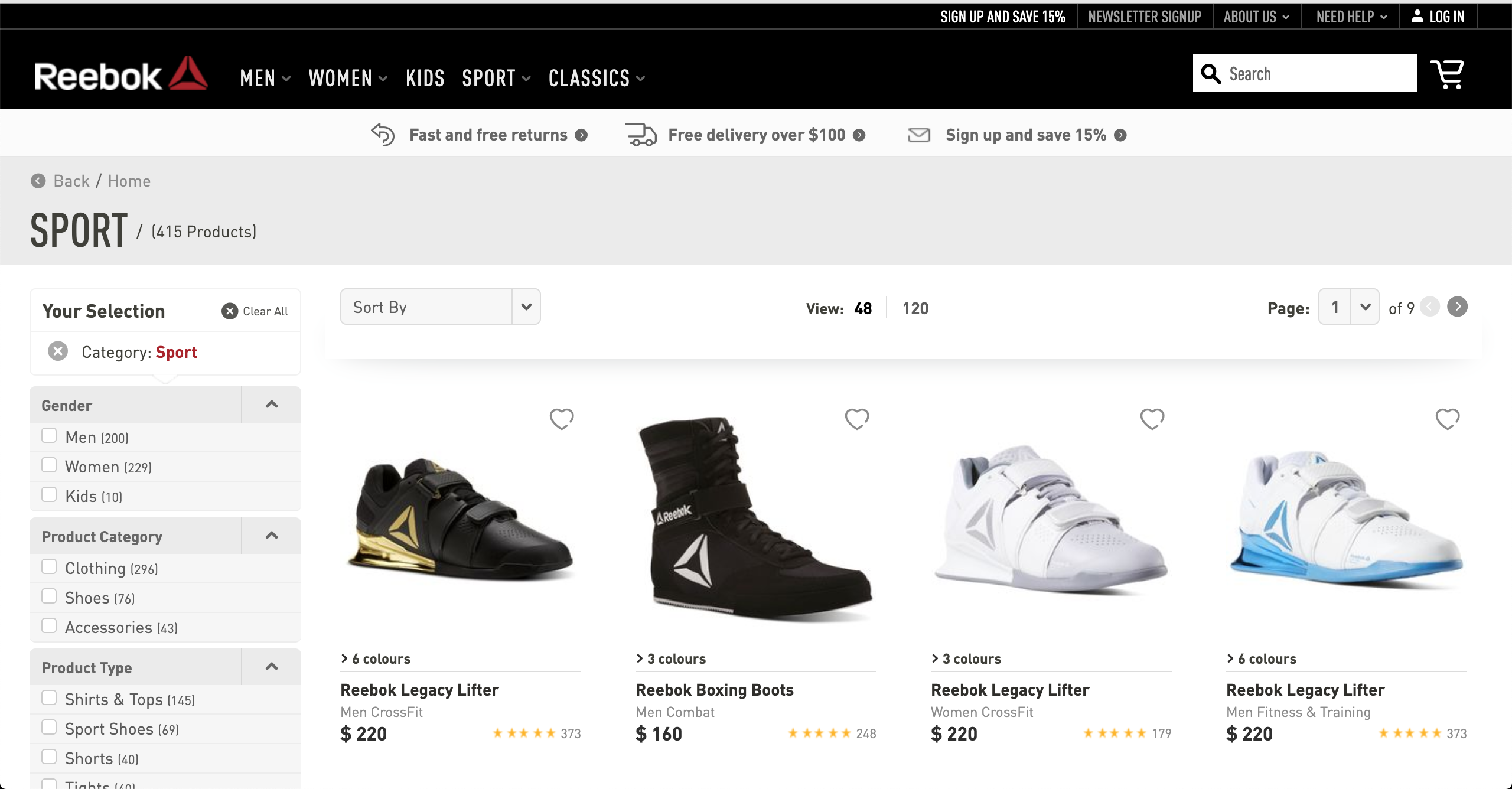 Reebok Sports product page