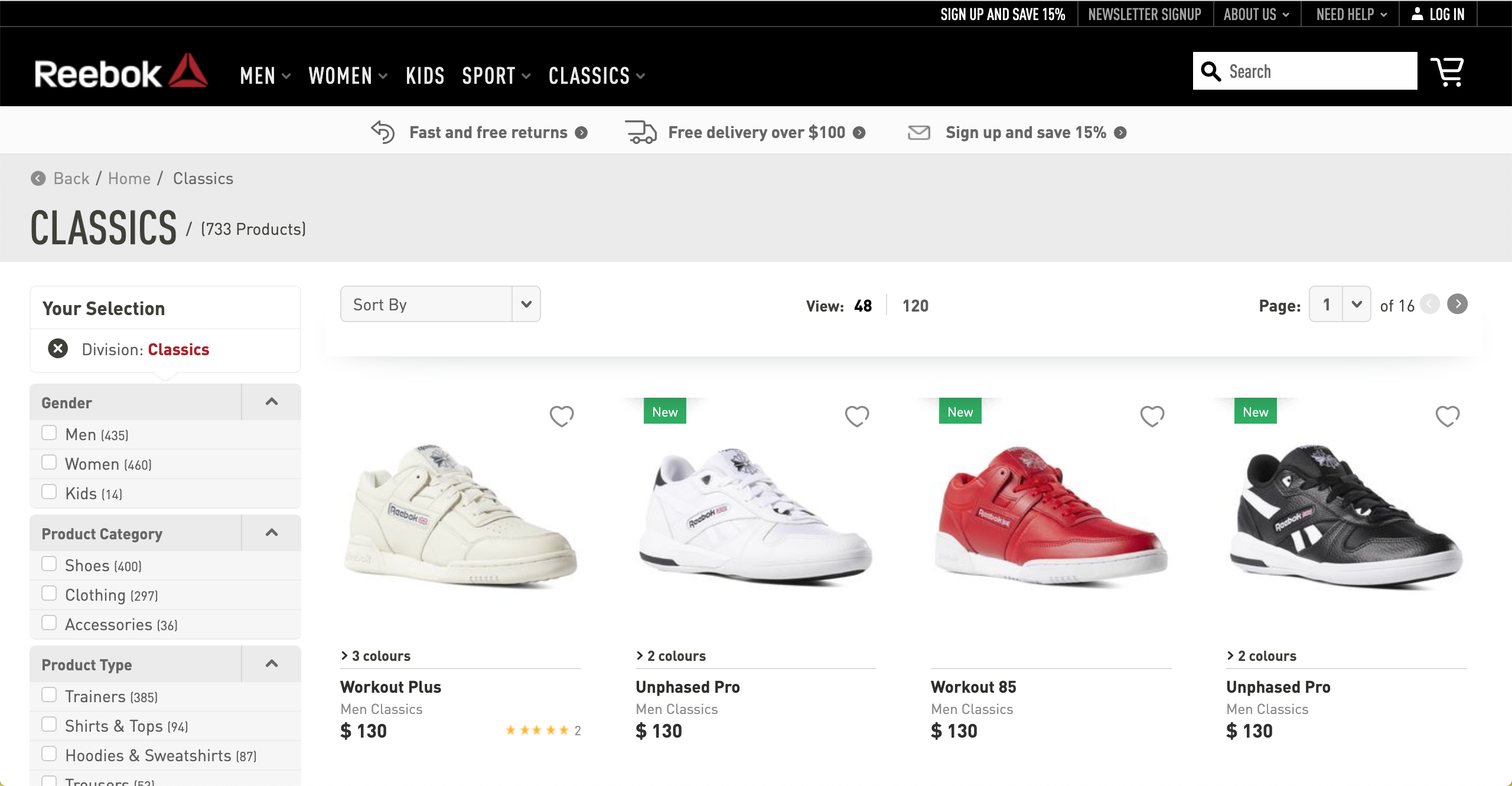 Reebok Classics product page