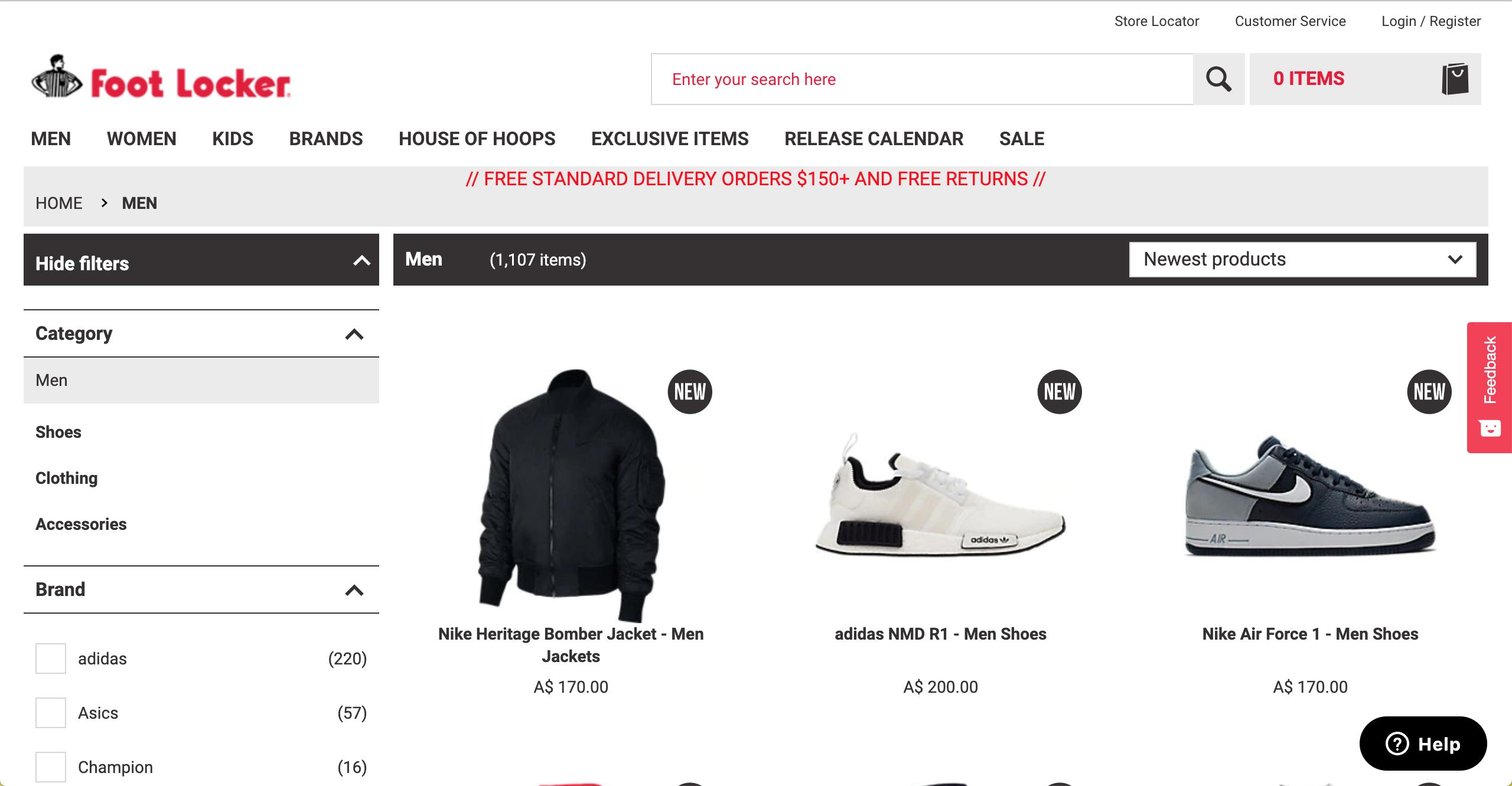Foot Locker Men s product page