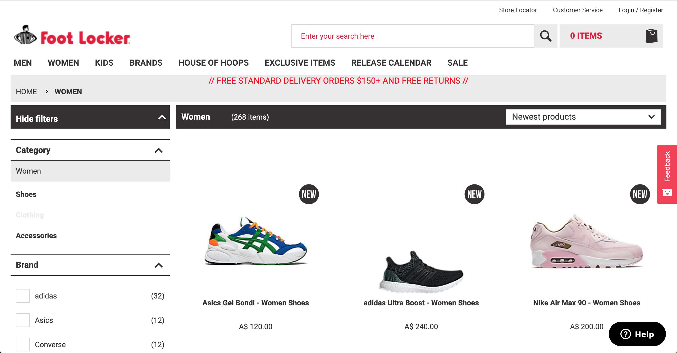 Foot Locker Women's product page