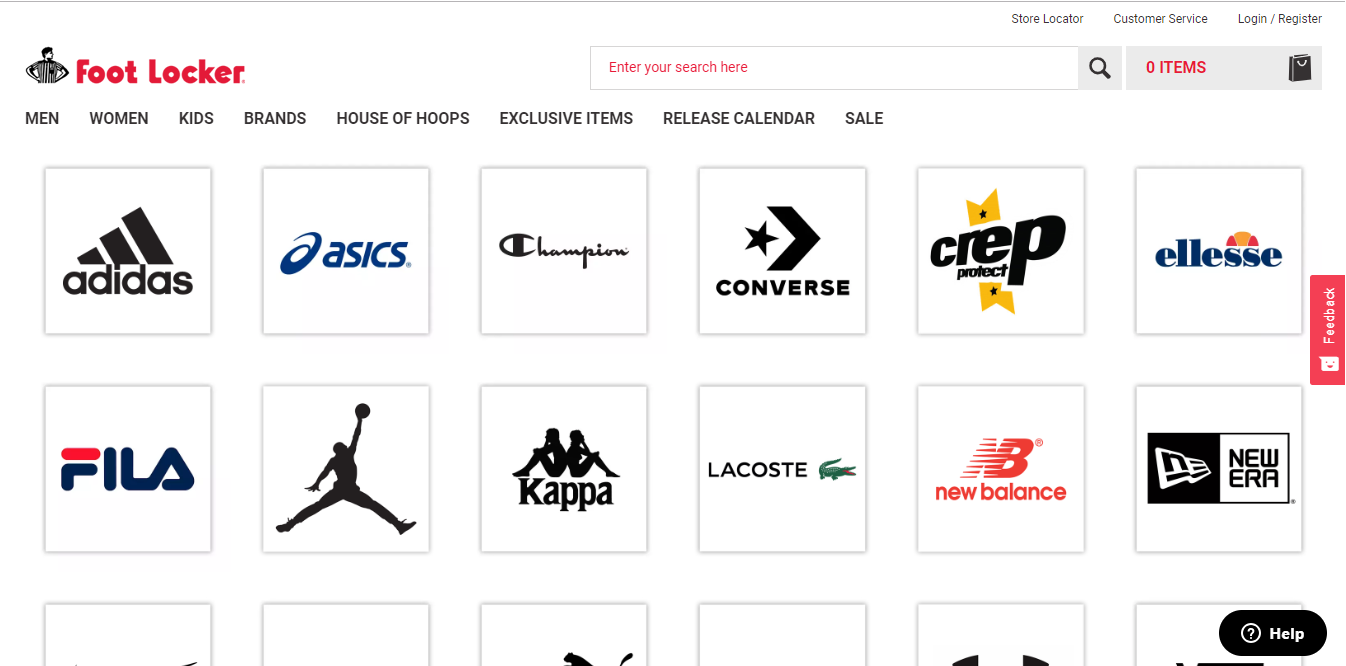 Foot Locker Brands product page