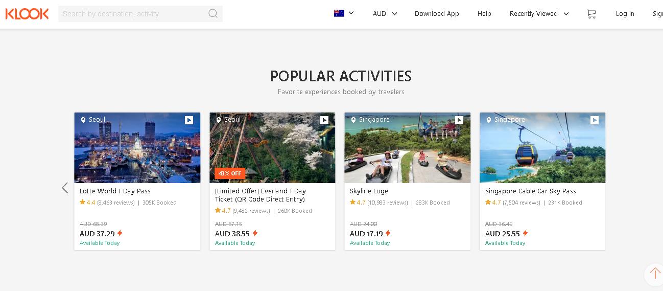 Klook popular activities page