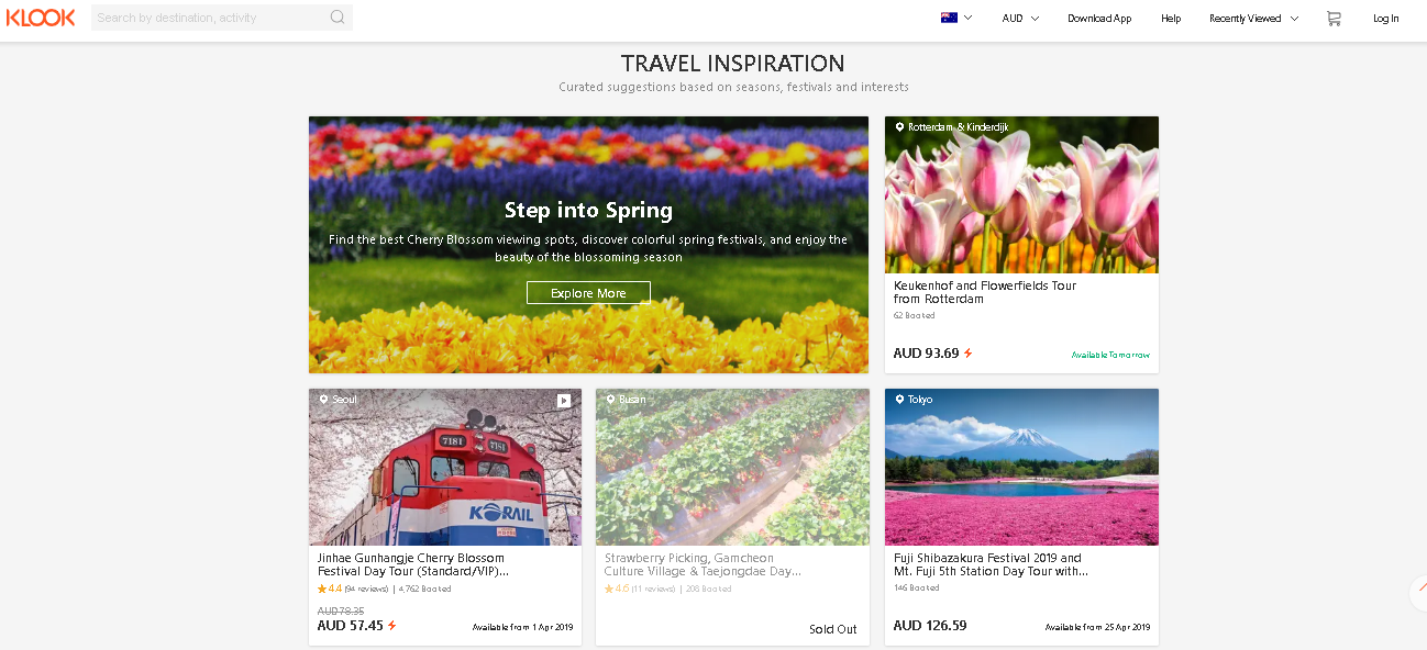 Klook travel inspiration page