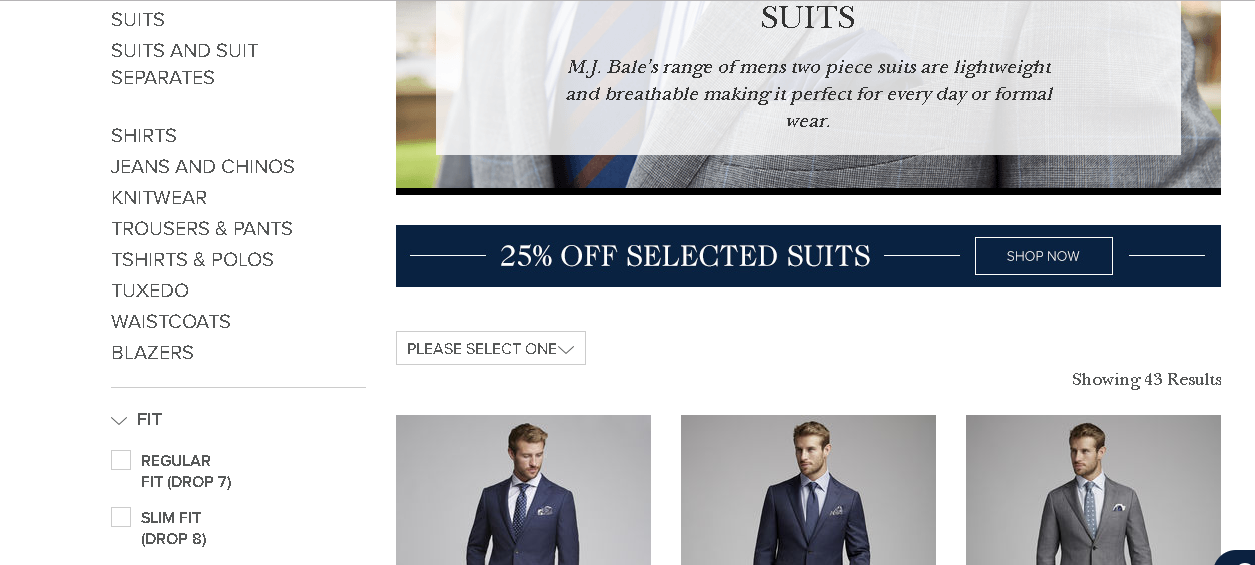 MJ Bale Suits product page