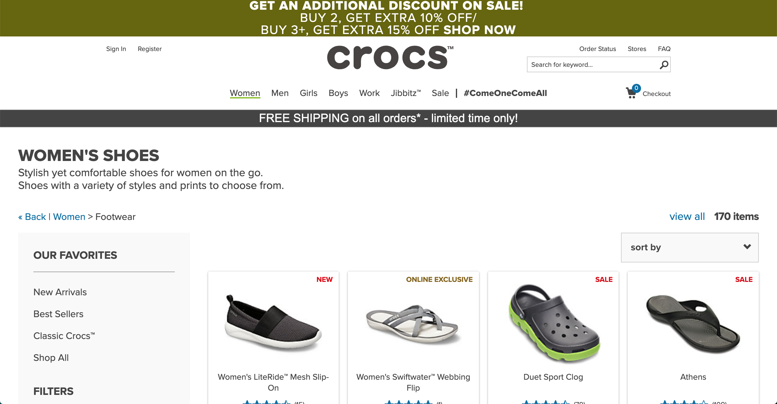 Crocs women's products page