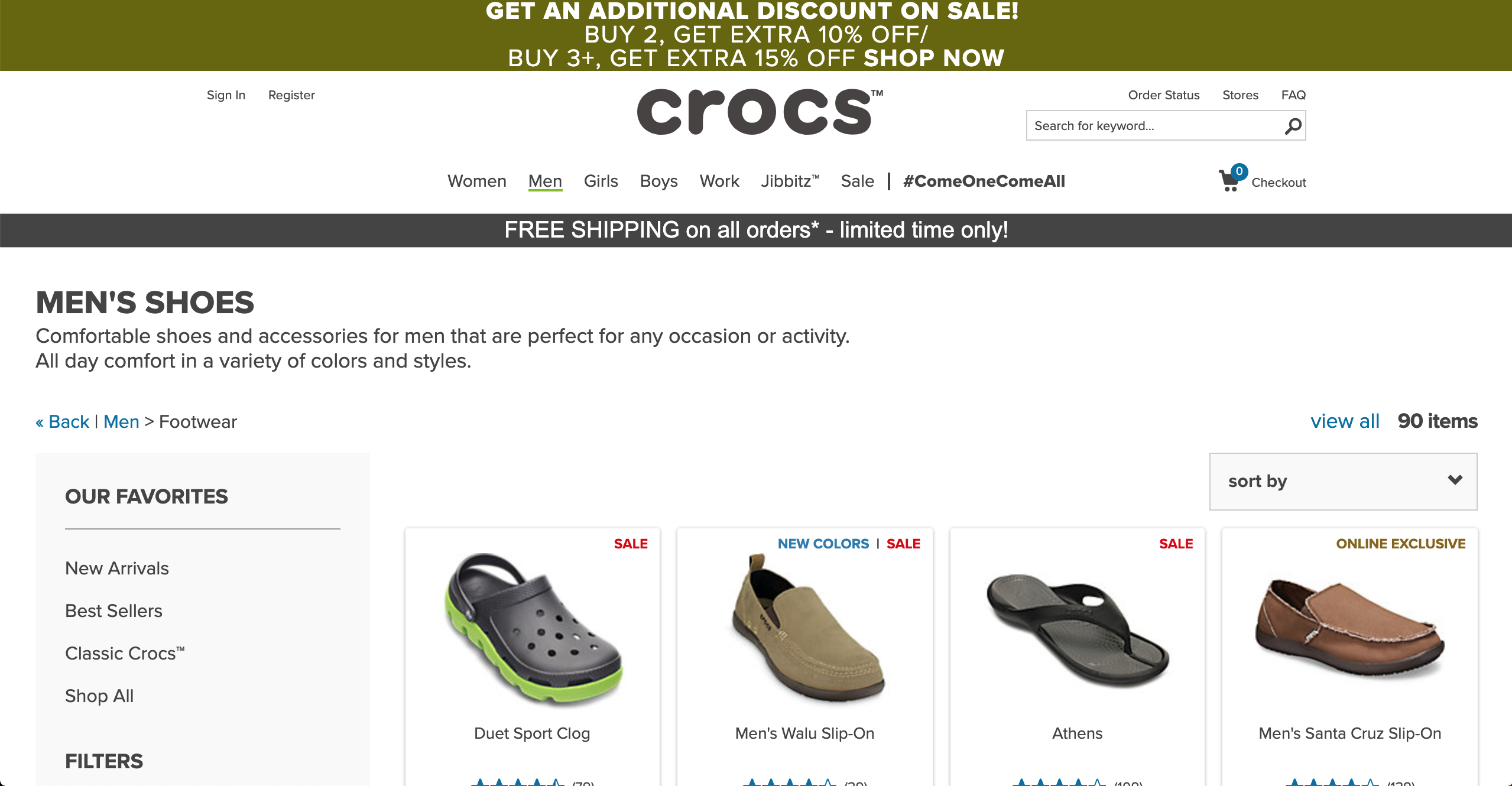 Crocs men s products page