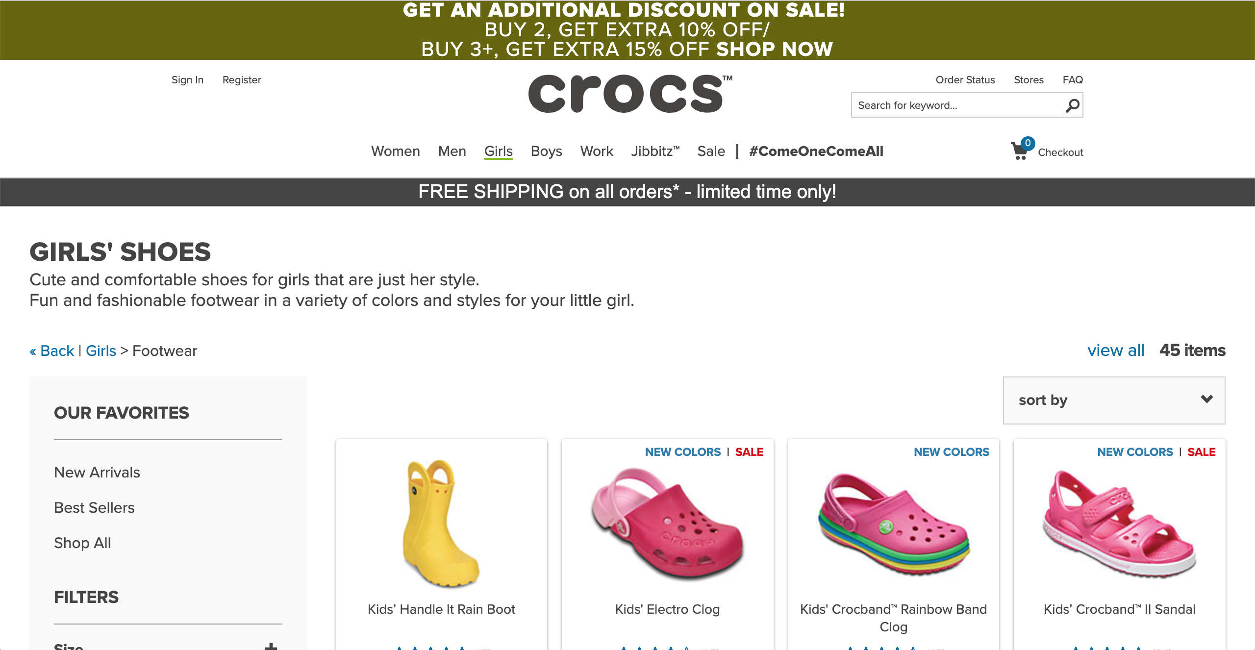 Crocs Girl's products page