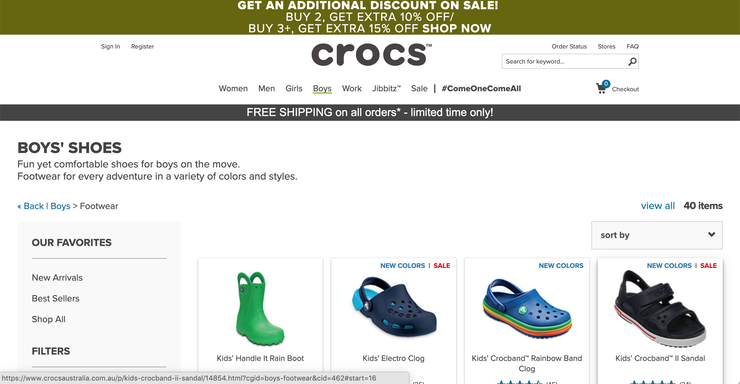 Crocs Boy's products page