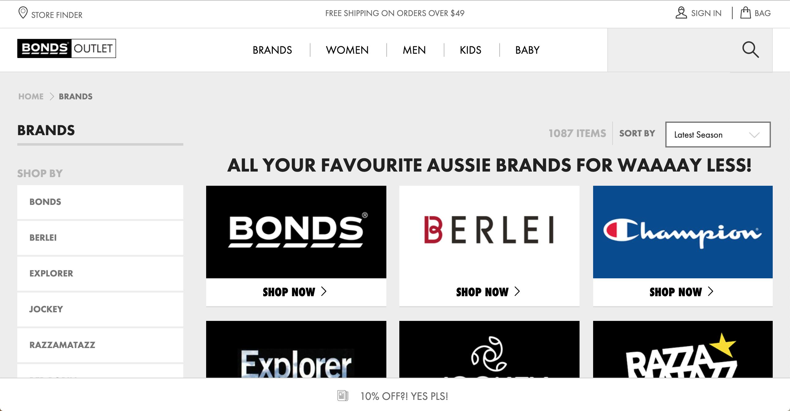 Bonds Outlet Brands