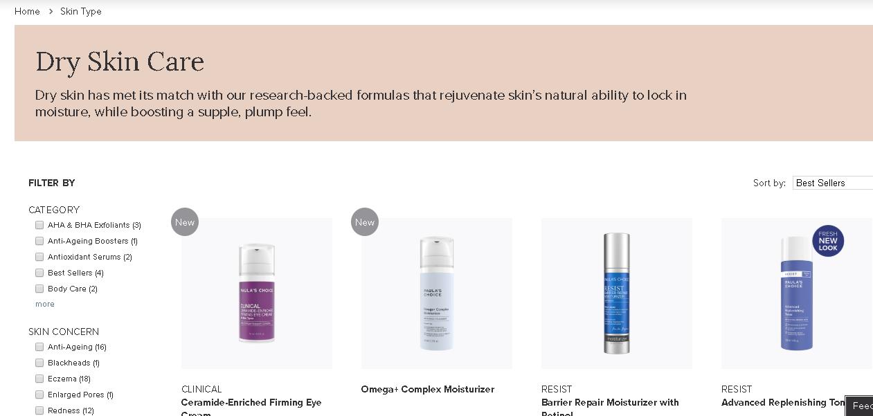 Paula's choice Dry skin care products
