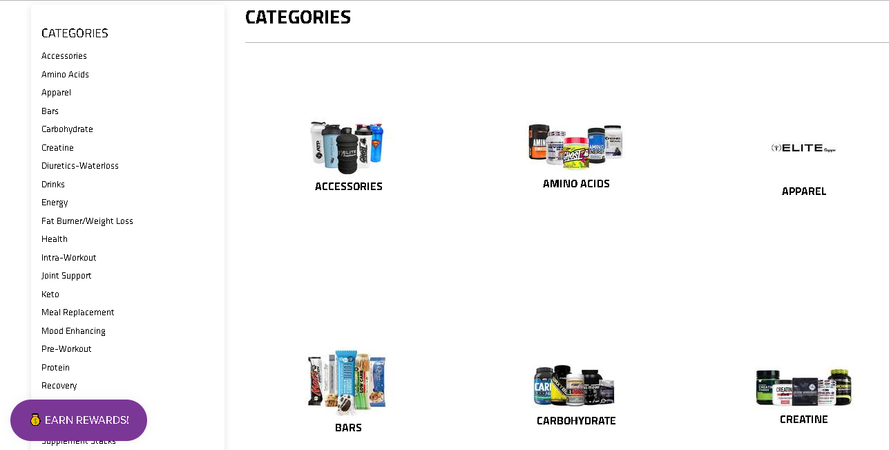 Elite Supps Categories page
