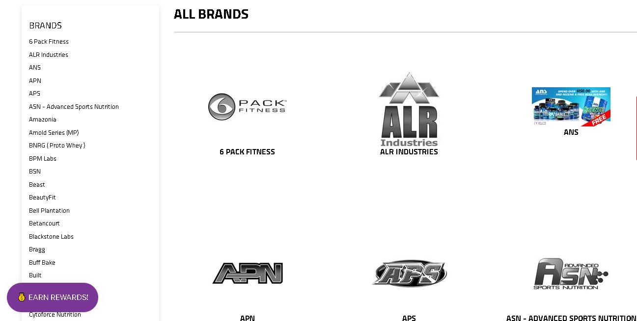 Elite Supps brands page