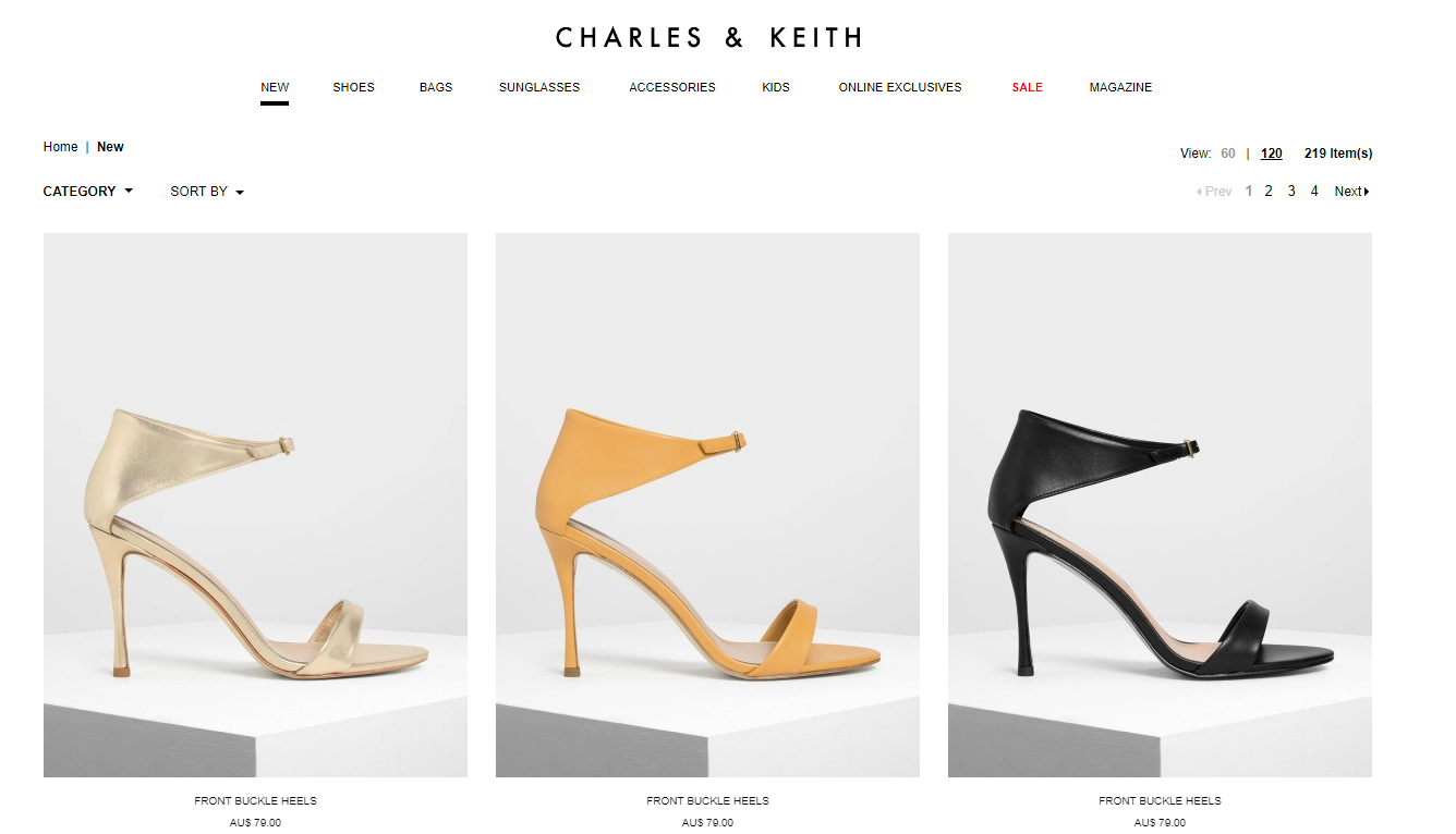 Charles & Keith New products page