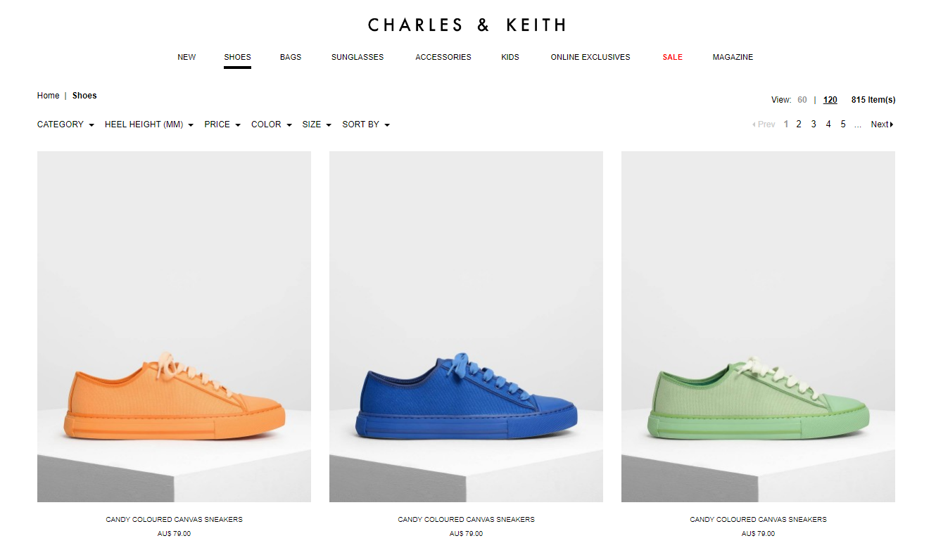 Charles & Keith shoes page